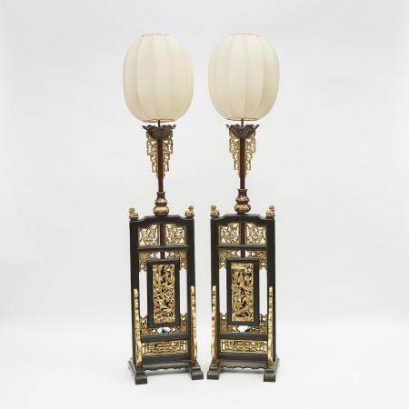 A Pair of Chinese Gilt Wood Temple Stands, 19th Century, 十九世紀 金漆木雕寺廟建築構件後製落地燈一對, height 74 in — 188