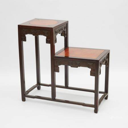 A Cherry Inlaid Rosewood Two-Tiered Stand, 19th Century, 十九世紀 花梨嵌櫻桃木回紋雕高低桌, 34.8 x 35.5 x 16.3 in —