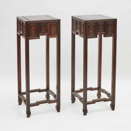 A Pair of Chinese Rosewood Carved High Tables, 花梨特高回紋帶托泥香几一對, 40.9 x 15 x 15 in — 104 x 38 x 38 cm (