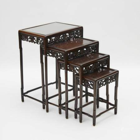 A Set of Four Chinese Rosewood Nesting Tables, Late Qing/Early Republican Period, 晚清/民國 透雕酸枝套桌一組四件,
