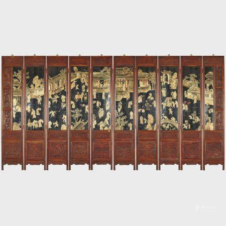 A Set of Ten Black Lacquer Painted Hanging Panels, Late Qing Dynasty, 晚清 黑漆描金木雕人物山水紋掛屏一套十屏, each pan