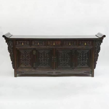 A Massive Carved Zitan Five-Drawer Coffer Table, Qing Dynasty, 19th Century, 清 十九世紀 紫檀如意紋五聯櫥, 38.8 x