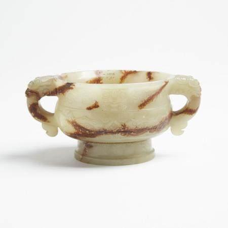 A Celadon and Russet Jade Censer, 青玉帶皮簋式爐, 2.3 x 5 in — 5.8 x 12.7 cm
