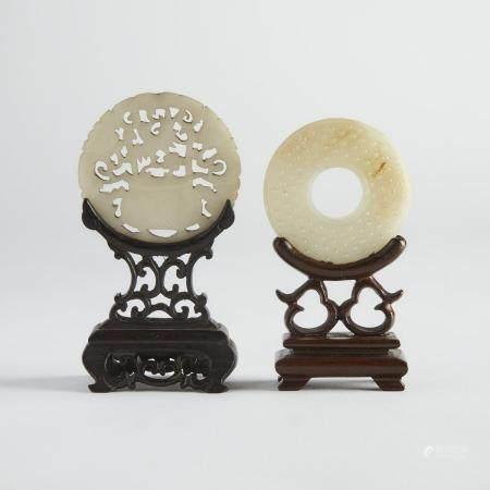 Two Jade Plaque Carvings, 谷紋玉插屏 玉鏤雕盆景紋插屏一組兩件, largest diameter 2.3 in — 5.9 cm (2 Pieces)