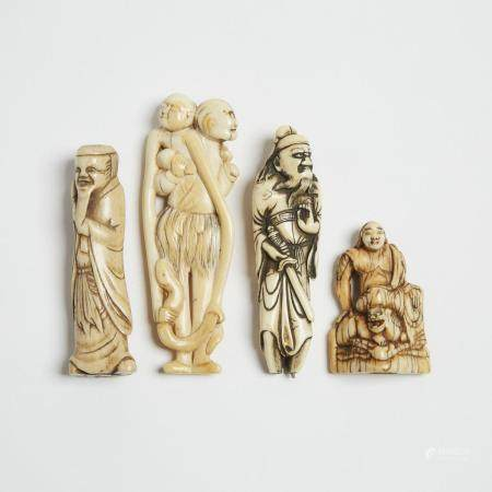 A Group of Four Ivory and Antler Netsuke, 18th/19th Century, 日本 十八/十九世紀 牙雕鹿角雕根付一組四件, tallest height
