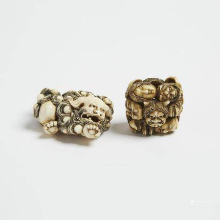 Two Ivory Netsuke of a Shishi and a Cluster of Masks, 19th Century, 日本 十九世紀 福獅面具根付一組兩件, largest leng