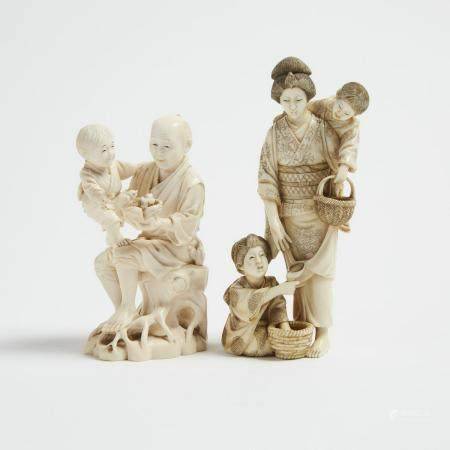Two Ivory Carved Okimono of Figures with Children, One Signed, Meiji Period, 日本 明治時期 牙雕人物擺件一組兩件, tal