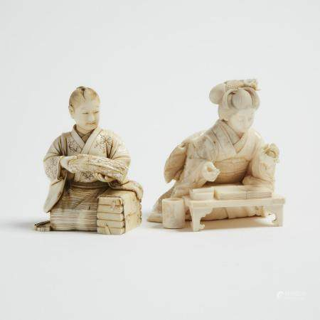 Two Ivory Okimono of a Textile Worker and an Artist, One Signed Nobutaka, Meiji Period, 日本 明治時期 牙雕人物