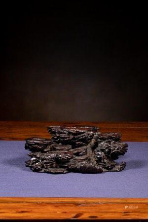 清乾隆 紫檀木雕奇石木座