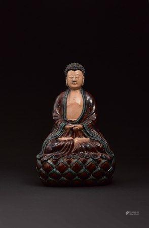 十七世紀 素三彩釋迦牟尼佛