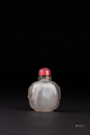 清 水晶鋪首鼻煙壺