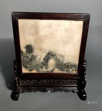 CHINE. ECRAN de LETTRÉ en bois et panneau de pierre dure beig