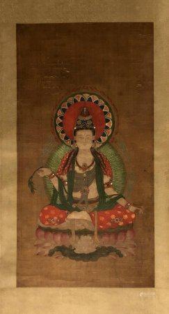 CHINE. BODDHISATTVA sur son trône lotiforme, encre sur soie,
