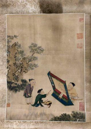 CHINE. Enfants joueurs, encre sur soie, rouleau verticale. 36
