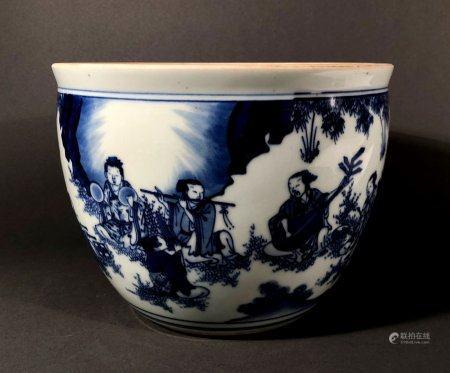 CHINE. Petit CACHE-POT en porcelaine à décor en camaïeu de bl