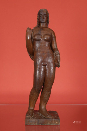 Jules-Oscar Maes (1881-1967)  - Femme nue circa 1930 En bois signé H. 100 [...]