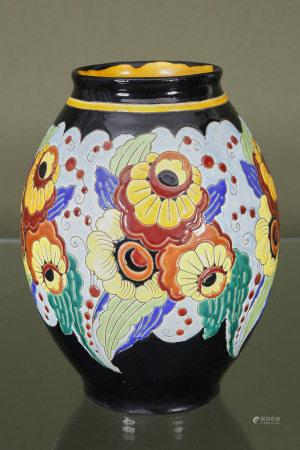 Keramis (Belgique)  - Grand vase ovoïde circa 1930-40 En faïence émaillée à [...]