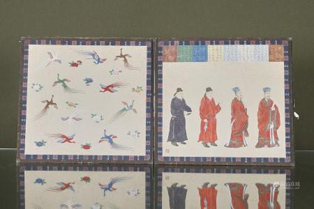 Chine  - Albums de 8 peintures  Sur papier contrecollé sur carton et tissus [...]
