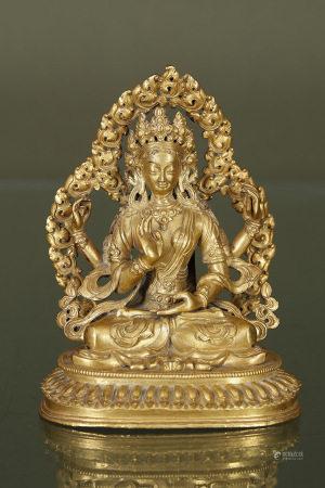 Chine  - Avalokitesvara  En bronze doré assis en padmasana sur un socle lotiforme [...]