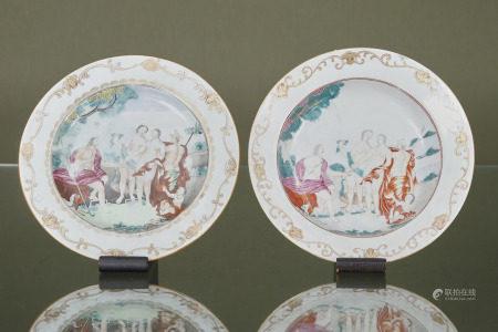 Compagnie des Indes, Chine  - Le Jugement de Pâris  En porcelaine émaillée [...]