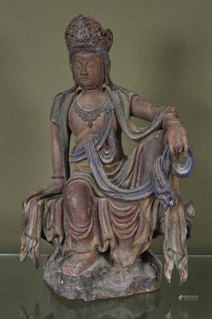 Chine  - Grande sculpture de Guanyin  En bois sculpté et polychrome représentée en [...]