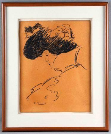"""CASAS, RAMÓN. """"Dama"""".  Ceras sobre cartulina, de 45x35 cm. Firmado. -"""