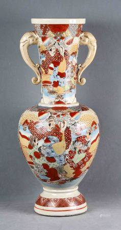 SATSUMA, S.XIX. Jarrón japonés. Jarrón con asas en porcelana SATSUMA policromada y [...]