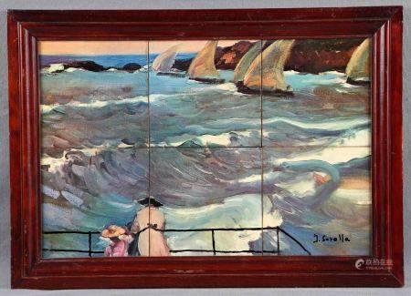 "SEGÚN MODELOS DE SOROLLA. ""Mirando al mar"". Composición en azulejo policromado. Con [...]"