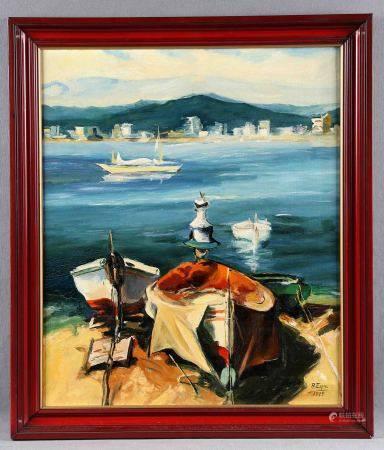 """ESPÍN, S. """"Barcas en la orilla"""".   Óleo sobre lienzo, de 55x46 cm. Firmado y [...]"""