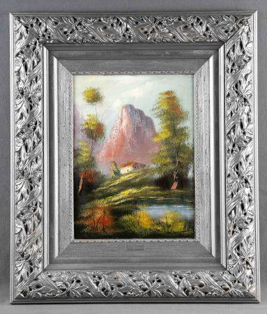 "ILEGIBLE. ""Paisaje"".  Óleo sobre lienzo, de 40x30 cm. Firmado.         -"