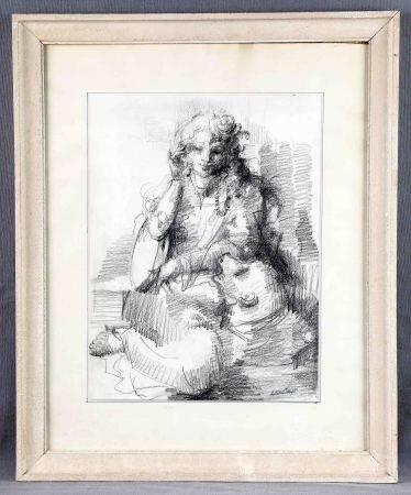 "MONTEJO, LEONARDO. ""Dama con perro"". Dibujo a carboncillo, de 41x30,5 cm. Firmado. Al [...]"
