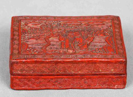 Caja oriental. Lacada en cinabrio rojo, y decorada con representaciones populares [...]