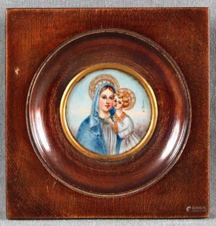 """ILEGIBLE. """"Virgen con Niño"""". Miniatura pintada sobre marfil, con marco de caoba. [...]"""