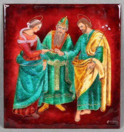 Placa rusa de temática religiosa. Esmaltada al fuego, con decoración en diversas [...]