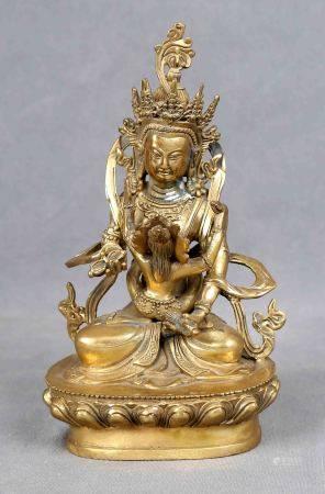 "ESC. TAILANDESA, S.XX. ""Buda"". Figura en bronce dorado. Alt.: 18,5 cm. -"