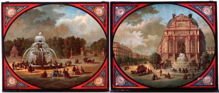 """ANÓNIMO. """"Plaza de la Concordia"""" y """"Fontaine San Michel"""". Pareja de placas [...]"""