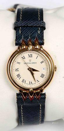 Reloj de pulsera, de la marca UNIVERSAL GENEVE. En dorado, con esfera circular, [...]