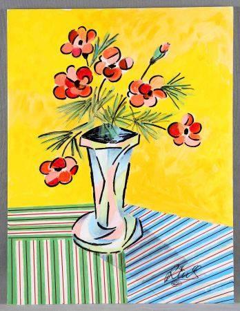 """RIUS, SALVADOR. """"El florero"""". Óleo sobre tabla, de 60x45 cm. Firmado. Al dorso, [...]"""
