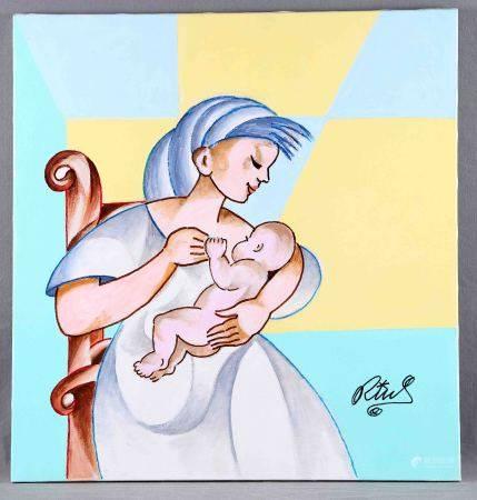 """RIUS, SALVADOR. """"Maternidad"""". Óleo sobre lienzo, de 65x61. Firmado. Al dorso, [...]"""
