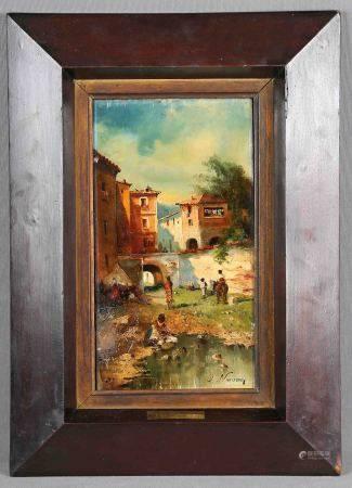 """NAVARRO LLORENS, JOSÉ. """"Escena rural"""". Óleo sobre tabla, de 32x17 cm. Firmado. -"""