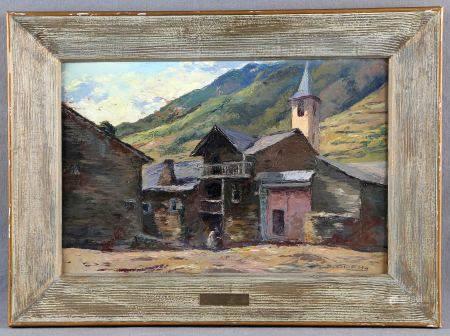 """ODENA DAURA, ISIDRO. """"Valle Farreres. Pirineo leridano"""". Óleo sobre cartón, de [...]"""