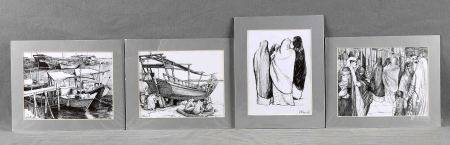 """MORRELL WINTER, ROSEMARY. """"Dhows moored at Al Wakrah jetty, Qatar""""; """"A dhow with [...]"""