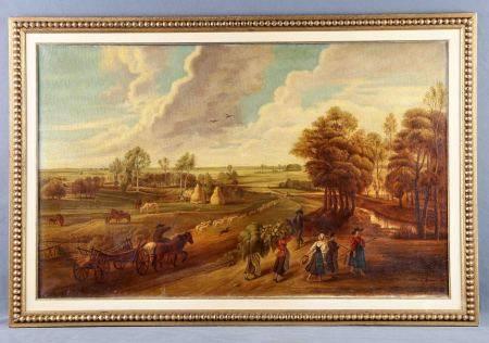 """ANÓNIMO. ESC. FRANCESA, S.XIX.  """"Forêt de Fontainebleau"""". Óleo sobre lienzo, de [...]"""