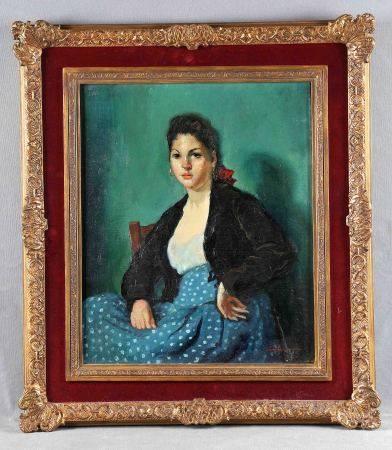 "SANTASUSAGNA SANTACREU, ERNESTO. ""Retrato de mujer"". Óleo sobre lienzo, de 46x38 cm. [...]"