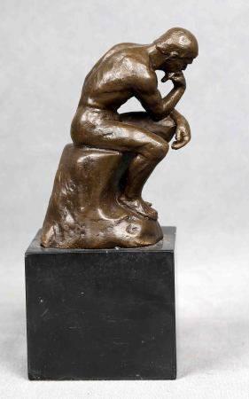 """SIGUIENDO MODELOS DE RODIN. """"El pensador"""". Escultura en bronce fundido y patinado [...]"""