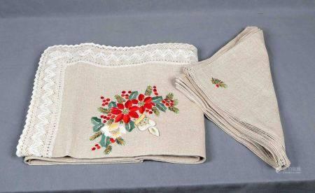 Mantelería de Navidad, para 12 servicios. En lino rústico, bordada a mano y con [...]