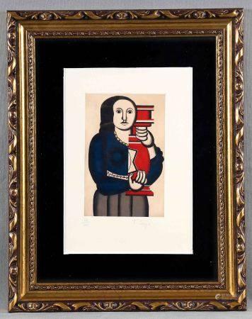 """LEGER, FERNAND.  """"Mujer"""". Litografía a color. Numerada 66/200, y con firma [...]"""