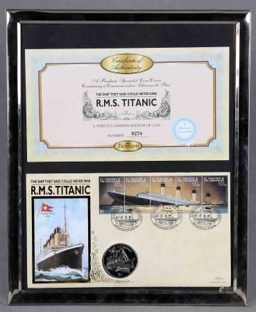Lote formado por moneda de 5$ y 5 sellos conmemorativos del Titanic. Edición [...]