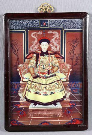 "ESC. CHINA. ANÓNIMO. ""Emperador chino"". Pintura sobre cristal, de 34x23,5 cm. -"