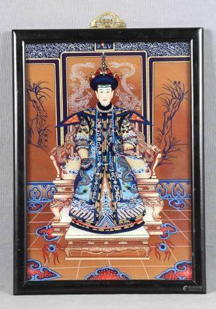 "ESC. CHINA. ANÓNIMO. ""Emperatriz china"". Pintura sobre cristal, de 34,5x24 cm. -"